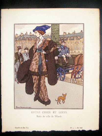 Gazette du Bon Ton by Brissaud 1912 Art Deco Pochoir. Entre Chien et Loups | Albion Prints